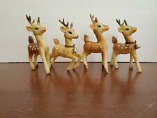 Htf Set of 4 Soft Plastic Reindeer Poseable Heads Japan