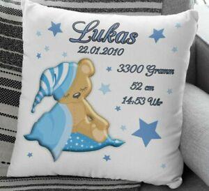 Deko Kissen Junge M/ädchen Babykissen mit Namen Tiere B/är Blau Baby Kissen 40x40cm Taufgeschenk Personalisierte Geschenke Baby