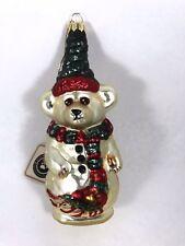 Boyd's Bear Glass Smith Collection Ornament 1997-98 #20041 Teddy Bear In Scarf