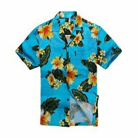 Men Tropical Hawaiian Aloha Shirt Cruise Luau Beach Party Turquoise Hibiscus GRN
