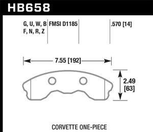 Hawk 06-10 Chevy Corvette (Improved Pad Design) Front HP+ Sreet Brake Pads (HB65