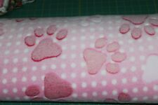 "2 1/2 yds ~ Sherpa Fleece Fabric ~ Pink with white dots & pink paws ~ 60"" ~ BTY"