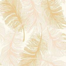 Coloroll Feathers Blown Vinyl Glitter Wallpaper Cream, Gold (M0926)