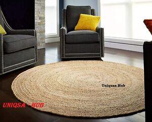 Rug Round 100% Natural braided jute handmade Reversible Modern Rustic Look rugs