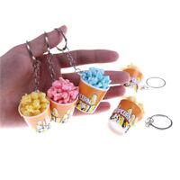 Creative Simulation Artificial Food Keychain Toy Popcorn%Bowlful Key Pendant _QA