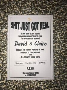 50 Personalised Wedding Invitations A6  Rude, Funny