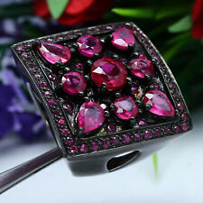 NATURAL PINK RED RUBY RING 925 STERLING SILVER BLACK GOLD COATED