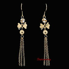 18k Gold Plated Long Dangle Tassel Crystal Earring IE130