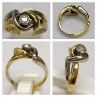 Eleganter bicolor Goldring 750 er Gold Ring m Brillant 0,15 Ct Brillantring