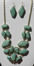 TURQUOISE ABSTRACT FASHION STATEMENT NECKLACE SET - Free Shipping!