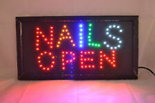 Nails Open Coloured Led Shop Sign Manicure Display Window Spa Extensions Salon