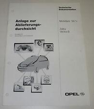 Werkstatthandbuch Ablieferungsdurchsicht Inspektion Opel Zafira Vectra B
