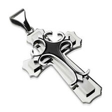 Double Cross Pendant Stainless Steel Black Epoxy Gothic Crosses