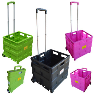 Folding Boot Cart Trolley 40kg Capacity Festival Camping Shopping Outdoors Pink