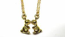 TWINS 18K Gold Plated Playboy Love Bunnies Rabbits Animal Charm Necklace Pendant