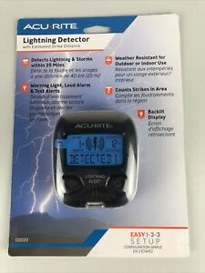 NEW Acu-Rite Lightning Detector - 02020, Detects 25 miles, Loud alarm, Backlit