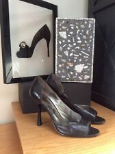 GUESS Black Leather Open-Toe Heels/Pumps | Size 6.5M PreOwned