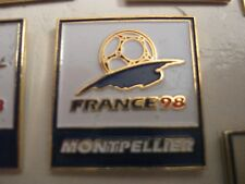 RARE OLD 1998 FRANCE FOOTBALL WORLD CUP MONTPELIER SQUARE METAL PRESS PIN BADGE