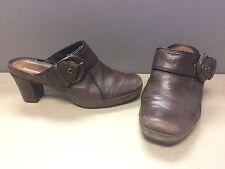 Women's Clarks Artisan Brown Leather Platform Buckle Clogs Mules Size 7.5M 85068