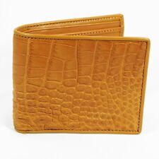New Beige Genuine Crocodile Alligator Leather Belley Skin Mens Bi-fold Wallet.