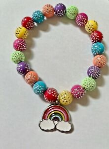 Girls Rainbow Stretchy Sparkle Bracelet (5-5.25 Inches) for Party's/Gifting