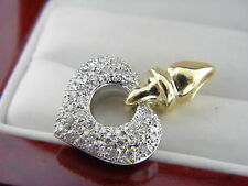 Diamond and 14K White&Yellow  Gold Heart Pendant  0.55 TCW