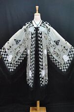 Baby Green Rose Burnout Silk Velvet Flower Burnout Sheer Fringe Jacket Kimono