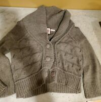 Juicy Couture *Women's S* Brown Taupe Wool-Cashmere Cropped Cardigan Sweater EUC
