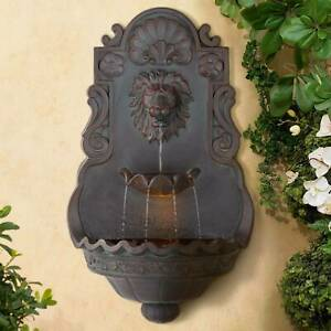 """Outdoor Wall Water Fountain with Light 31 1/2"""" Lion Head 2 Tiered Garden Home"""