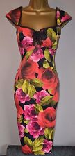 Karen Millen 8 Stunning Rare Rose Floral Wedding Races Cruise Pencil Dress £180