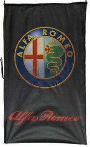 ALFA ROMEO-FLAG 3D BLACK VERTICAL BANNER 5 X 3 FT 150 X 90 CM