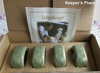 4 Longaberger Pottery Woven Traditions Soft Square Napkin Rings Green + Gift Bag