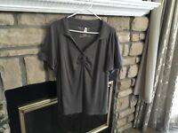 Nwot Lane Bryant Gray 100% Supima Cotton Short Sleeved Knit Top 1X 18-20