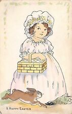 Easter Girl in Pastels~Square Egg Basket~Brown Bunny Rabbit Runs~Whitney Made