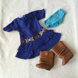 American Girl Doll SAIGE MEET OUTFIT Dress Boots Underwear RETIRED
