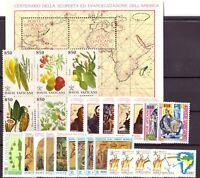 1992 Vaticano Annata Completa Nuovi Come Unificato 26 Valori + 1 Bf  Integri