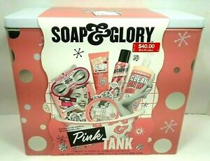"""SOAP & GLORY """"Pink Tank"""" Gift Set In Decorative Tin - 6 Full Sized Items - NEW !"""