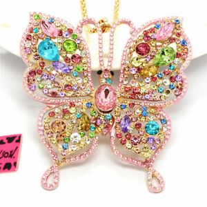Lovely Rhinestone Pink Color Butterfly Crystal Betsey Johnson Chain Necklace
