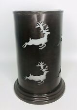 Rustic Metal Jar Hurricane Candle Holder Reindeer Punched Cut Out Signature New