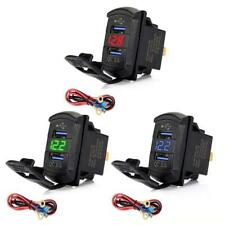 Dual Usb Rocker Switch Fast Charger Qc3.0 Led Voltmeter For Car Boat Smartphone