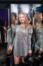 Zara Mid Grey Marl Sequin Puffball Long Sleeve Knit Dress S