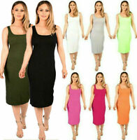 Women's Ladies Sleeveless Scoop Neck Summer Ribbed Bodycon Midi Dress UK 8-14
