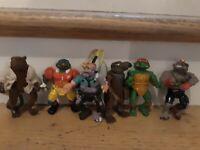 Vintage TMNT Ninja Turtles Lot of 6 action Figures mirage playmates free ship