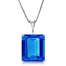 Emerald Cut Blue Topaz 7 ct Gemstone Solitaire Pendant Necklace 14K Solid Gold