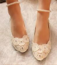 decolte scarpe donna ballerina bianco perle sposa eleganti 3.5, 4.5 8 11 9359