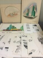 Lot Of 1950'S Student Art Pieces-Pencil-Watercolor-Signed R. Lehman