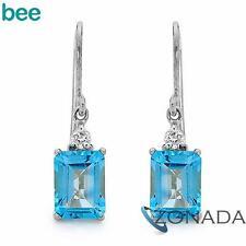 Blue Topaz & Diamond 9ct 9k Solid White Gold Earrings W53850/BT