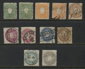 Saxony 1863 Arms Sc #15-20 MH Used Selection With Shades Min CV $103