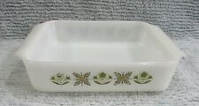 Meadow Green Flower Garden Anchor Hocking Fire King Square Glass Cake Pan FREE S