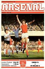 London FA v England XI programme, played at Highbury, Arsenal October 1981